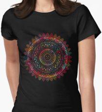 Rainbow Kitty Cat Mandala Womens Fitted T-Shirt