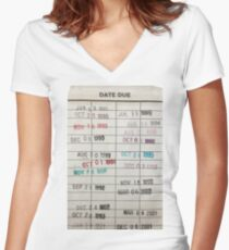 Library Cards Women's Fitted V-Neck T-Shirt