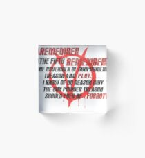 v for vendetta quote Acrylic Block
