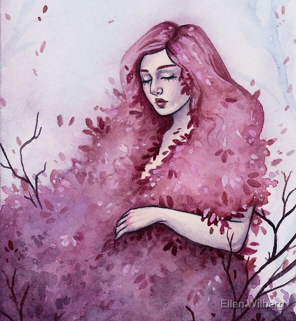Pink Spring - Watercolor and gouache painting by Ellen Wilberg