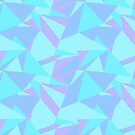 Mint, Blue, and Purple Shattered Geometric Shards (Seamless Pattern) by Olivya Striloff