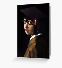 Girl with the Graduation Cap & Glasses Greeting Card