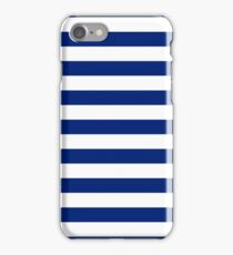 Nautical Navy Blue Horizontal Stripes iPhone Case/Skin