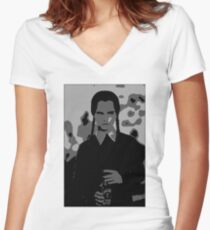 A shadowy Wednesday Adams Women's Fitted V-Neck T-Shirt