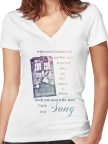 There is a Song, Doctor Who, Husbands of River Song Women's Fitted V-Neck T-Shirt