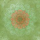 Mandala Dream in peach & green  by Melanie Moor