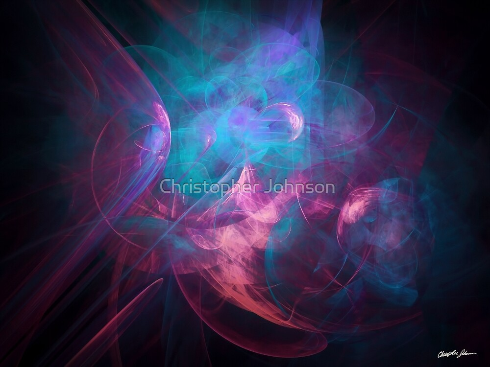 Alien Code Teal Magenta by Christopher Johnson