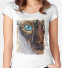 Siamese Cat Painting Women's Fitted Scoop T-Shirt