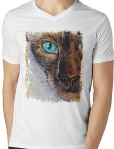 Siamese Cat Painting Mens V-Neck T-Shirt