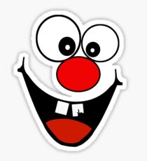 Cracked Tooth - Big Red Nose Cartoon Head Decal Kids Bag Tee Sticker