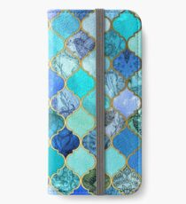 Cobalt Blue, Aqua & Gold Decorative Moroccan Tile Pattern iPhone Wallet/Case/Skin