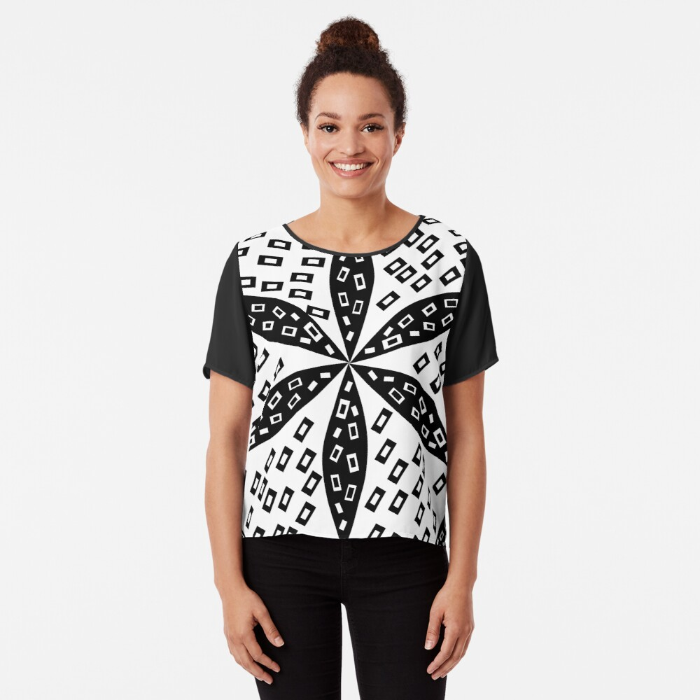 Black and white flower and rectangles Chiffon Top