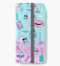 Girly Pastell Hexe Gothic-Muster iPhone Flip-Case/Hülle/Klebefolie