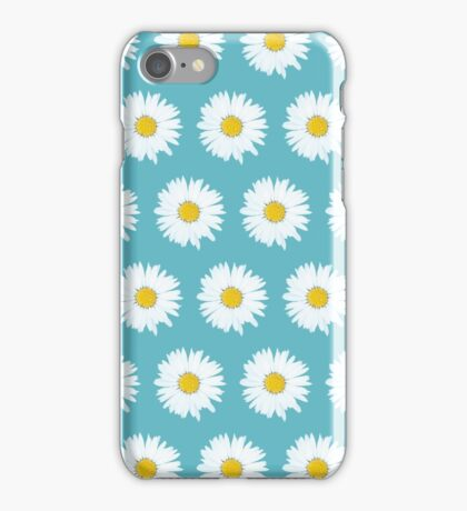 Simple White Daisy on Blue iPhone Case/Skin