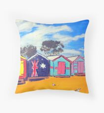 Brighton Bathing Boxes Throw Pillow