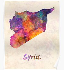 Syria in watercolor Poster