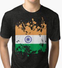 India Flag Ink Splatter Tri-blend T-Shirt