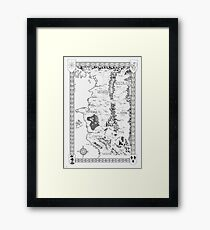 Witcher Map done in Ink Framed Print