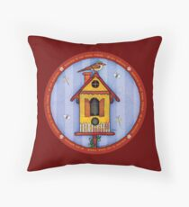 Birdhouse with Bird Throw Pillow