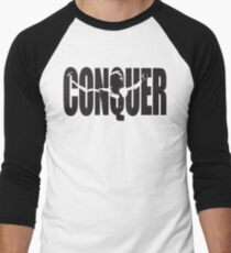 CONQUER (Arnold Iconic Black) Men's Baseball ¾ T-Shirt