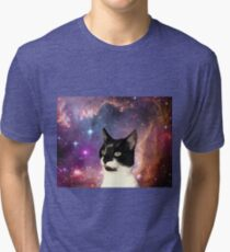 Cat Tongue In Space Tri-blend T-Shirt