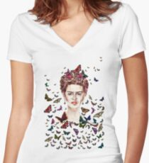 Frida Kahlo Flowers Butterflies Women's Fitted V-Neck T-Shirt