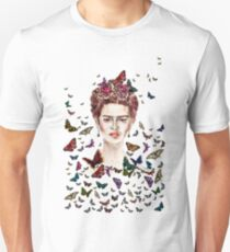 Frida Kahlo Flowers Butterflies T-Shirt