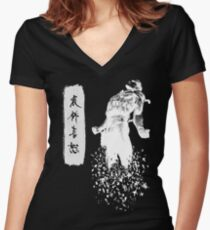 Metal Gear Solid 4 - Dissolving Snake Women's Fitted V-Neck T-Shirt