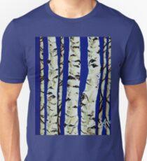 Sleeping Giants Aspen Trees Grove Old Winter Sky Blue White Trunks Strong Powerful T-Shirt