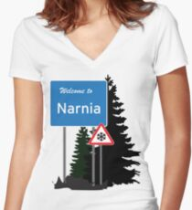 Narnia traffic Women's Fitted V-Neck T-Shirt