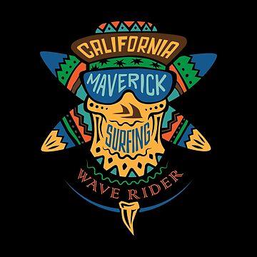 Surfing skull maverick color by valerisi