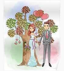 Beautiful Wedding Bride and Groom Hearts Tree Poster