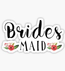 Bridesmaid Black Modern text Design Floral Accent Sticker