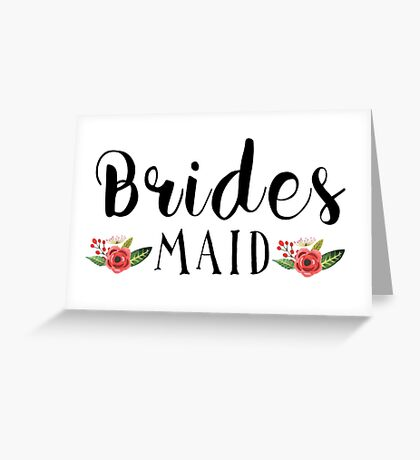 Bridesmaid Black Modern text Design Floral Accent Greeting Card