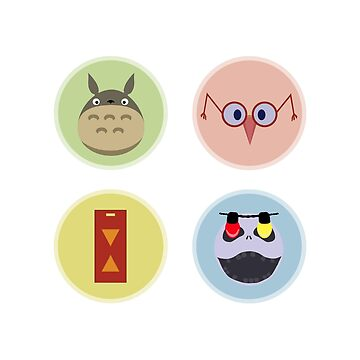 Totoro, Chihiro, Jack Skeleton and Alice Symbols by JuliaMaud