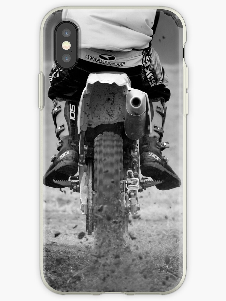 'Moto x motorcycle kicking up the dirt' iPhone Case by Martyn Franklin