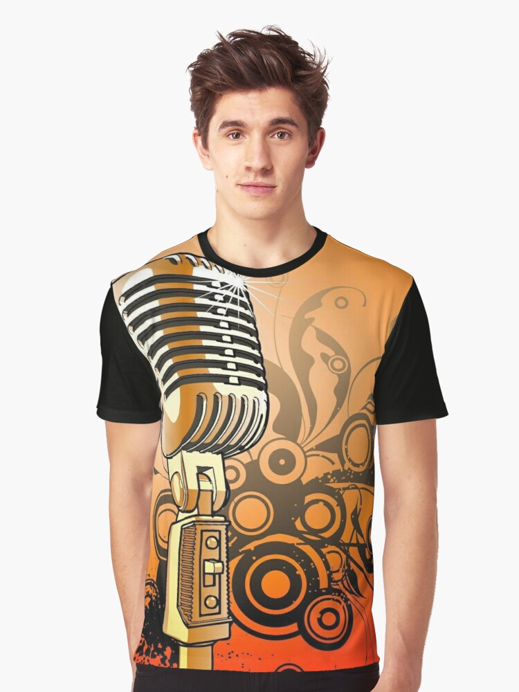 Vintage Microphone Graphic T-Shirt Front