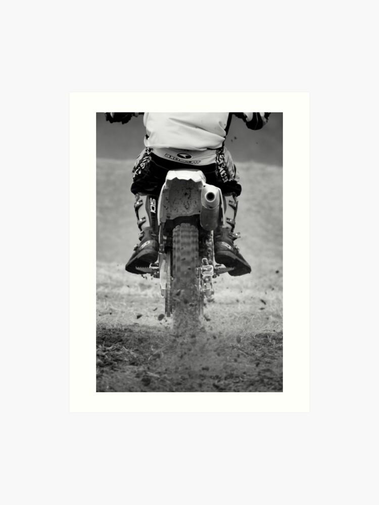 Moto x motorcycle kicking up the dirt | Art Print