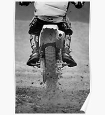 Moto x motorcycle kicking up the dirt Poster