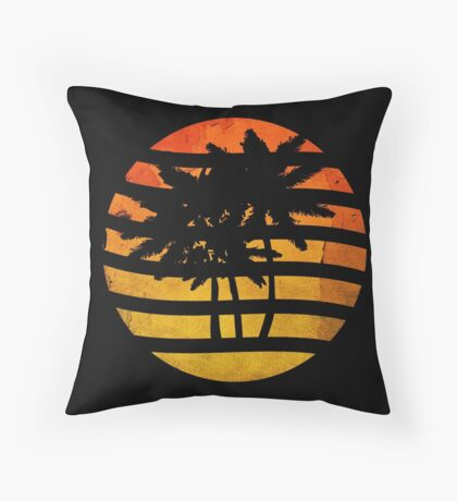 Palm Trees Grunge Sunset Throw Pillow