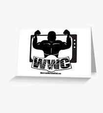 Wrestling Watching Club Glass Shatter BW Logo Greeting Card