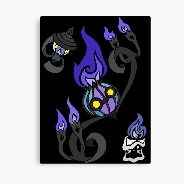 Flames of the Forgotten - Chandelure, Lampent and Litwick Canvas Print