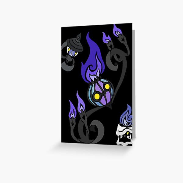 Flames of the Forgotten - Chandelure, Lampent and Litwick Greeting Card