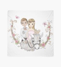 Beautiful Wedding Newlywed Bride Groom Horse Scarf