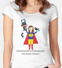 Administrative Professional Super Hero (Brunette) Women's Fitted Scoop T-Shirt