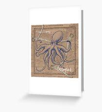 Burlap Shellfish Octopus Greeting Card