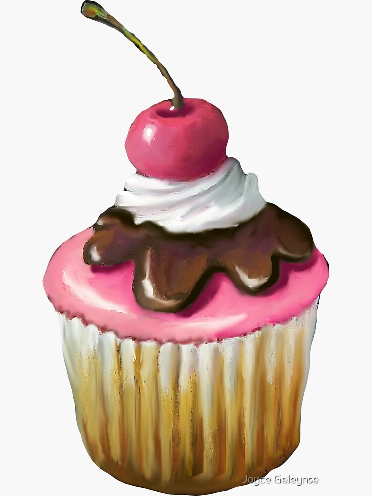 Cupcake with Pink Icing, Chocolate, Cherry on Top von Joyce
