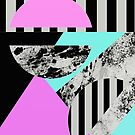 Abstract, Geometric Painting In Teal, Pink, Black And White by Printpix
