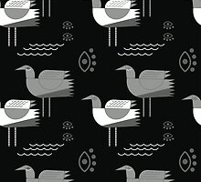 Seagulls and eyes black by penbirds