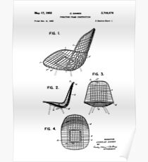 Eames DKR Iconic Mid Century Modern Chair Patent Drawing Design Poster
